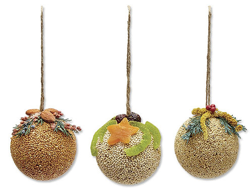 Fruit Birdseed Ornament Trio