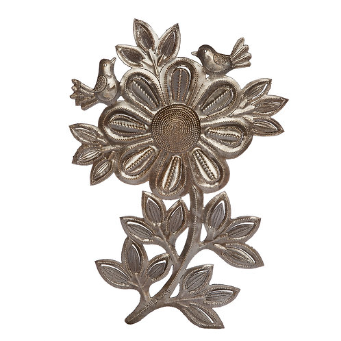 Floral Friends wall art made from recycled steel drums. Made in Haiti.