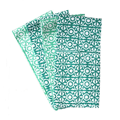 Lattice Hand Block Printed, Fair Trade,Cotton Napkins
