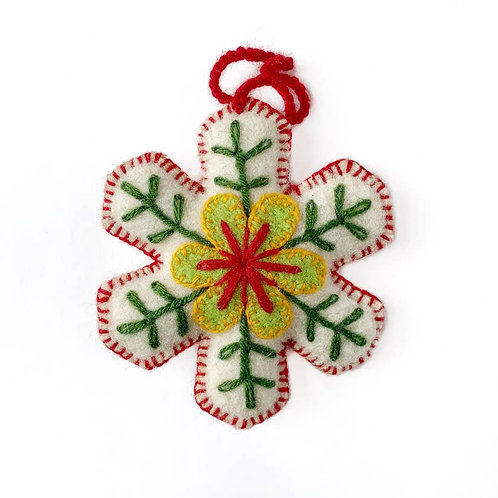 Classic Snowflake Embroidered Wool Ornament