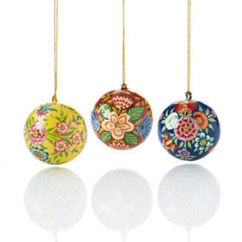 Kashmiri Ball Ornament Set. Made in India. Fair Trade