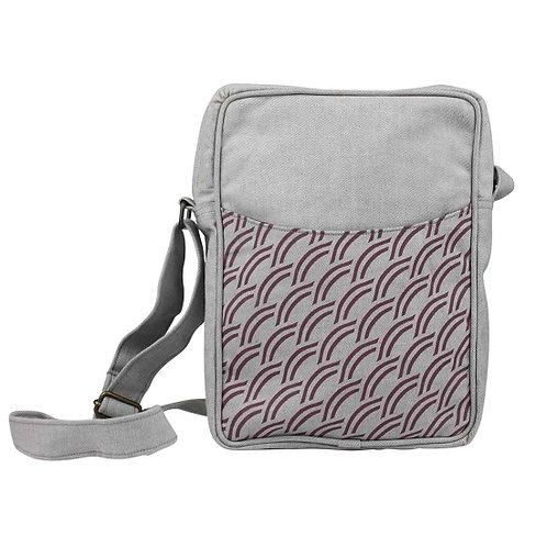 Plum Crescent Cotton Crossbody Bag. Fair trade