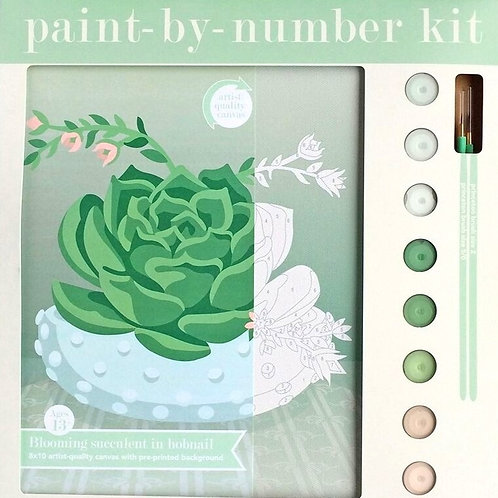 8x10 Canvas Paint By Numbers Kit- Succulent in Hobnail