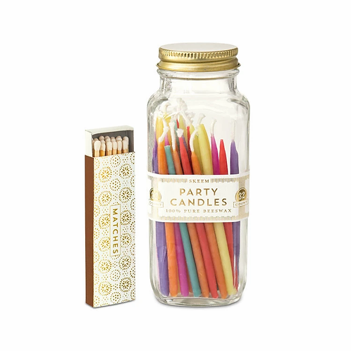 Apothecary Jar of Party Candles & Matches