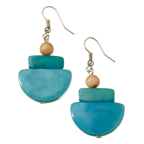 Camila Sea Breeze Tagua Earrings Made in Ecuador. Fair Trade