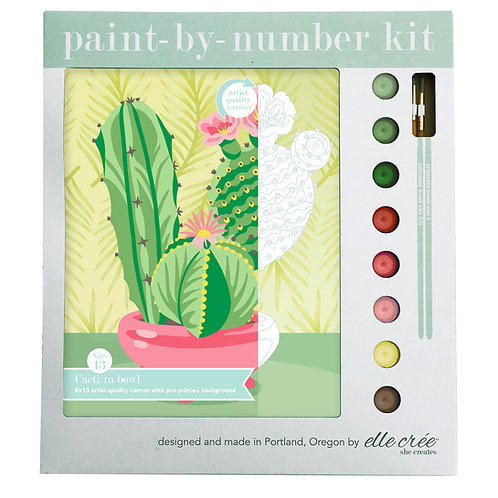 8x10 Canvas Paint by Numbers Kit | Cacti