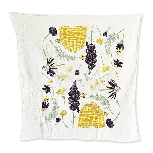 Honeybee Garden tea towel