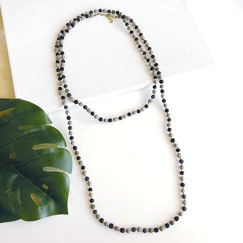 Kantha Noir Long Necklace. Fair Trade