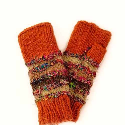 Wool and Silk Fingerless Gloves