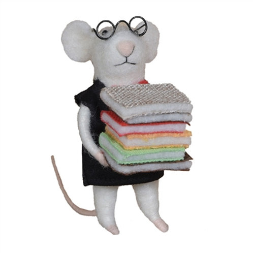 Felt Librarian Mouse Ornament