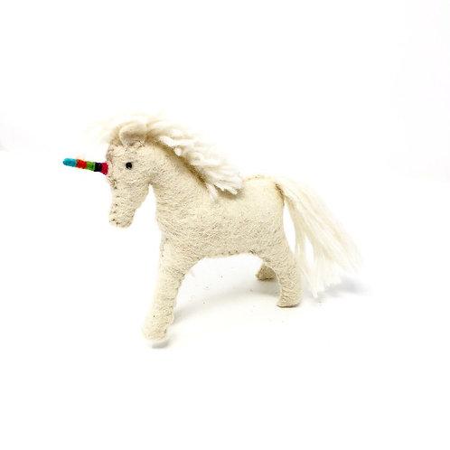 Felt Unicorn with Rainbow Horn ornament