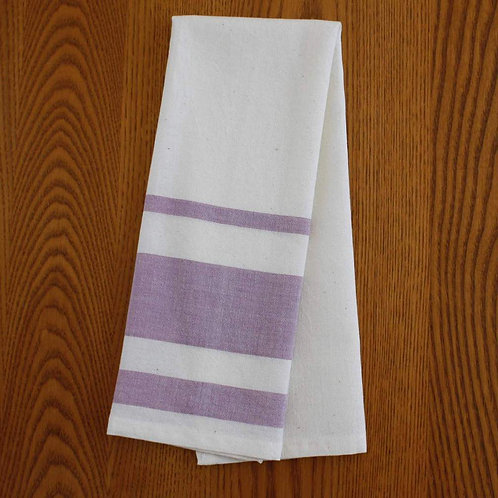 Handmade, fair trade, cotton tea towel in lavender or azure
