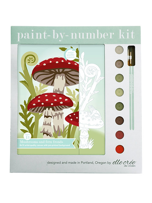 8x10 canvas paint by numbers kit | mushrooms & fern fronds