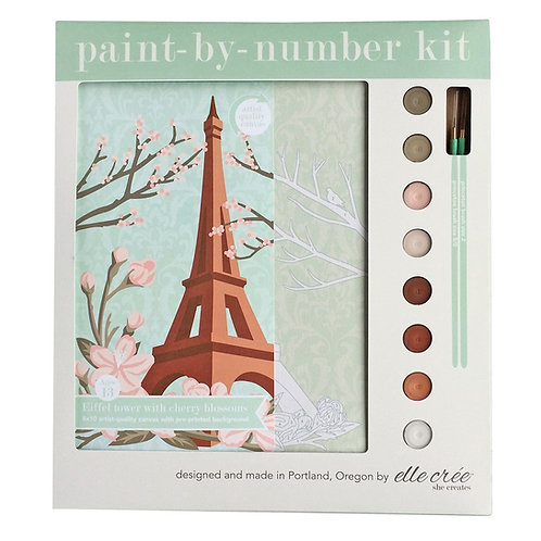 8x10 Canvas Paint by Numbers Kit | Eiffel Tower with Cherry Blossoms
