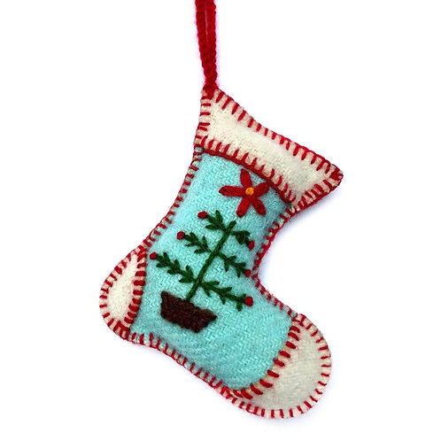 Blue Stocking Embroidered Wool Ornament