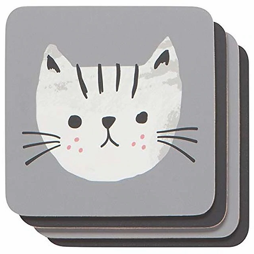 Cat's Meow cork backed coasters, set of 4