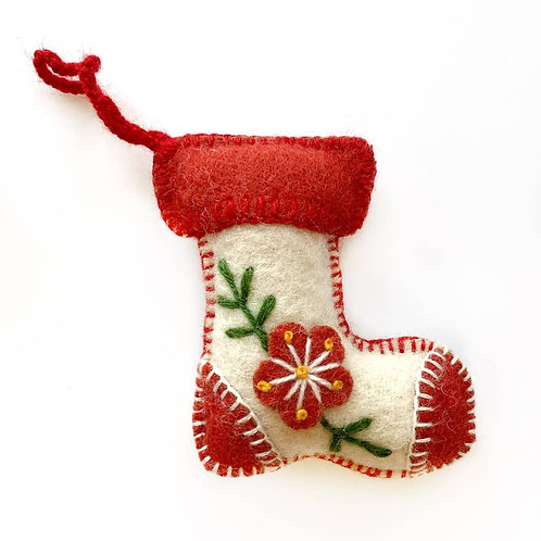 White Stocking Embroidered Wool Ornament