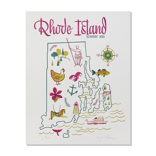Rhode Island State Letterpress Print