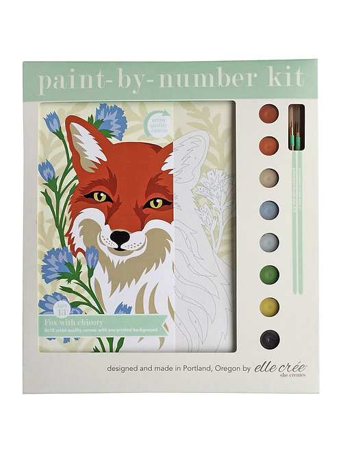 8x10 canvas paint by number kit | fox with chicory
