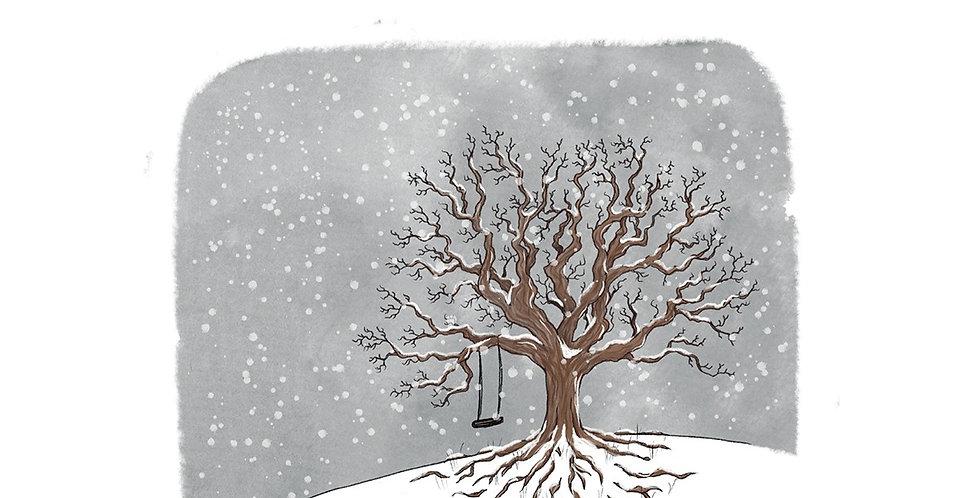 Nettlefold Oak Tree - Winter A3 print