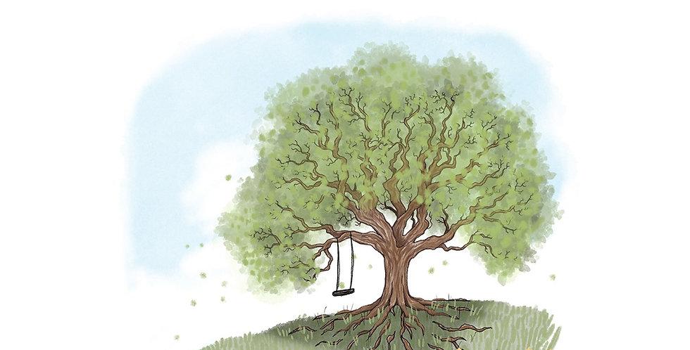 Nettlefold Oak Tree - Spring - A3 print