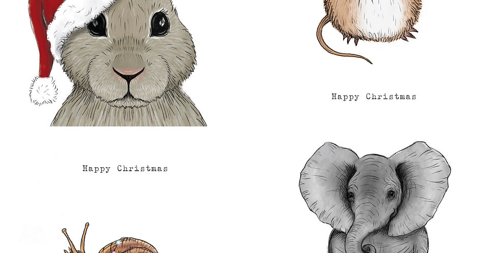 Animal Friends at Christmas card pack