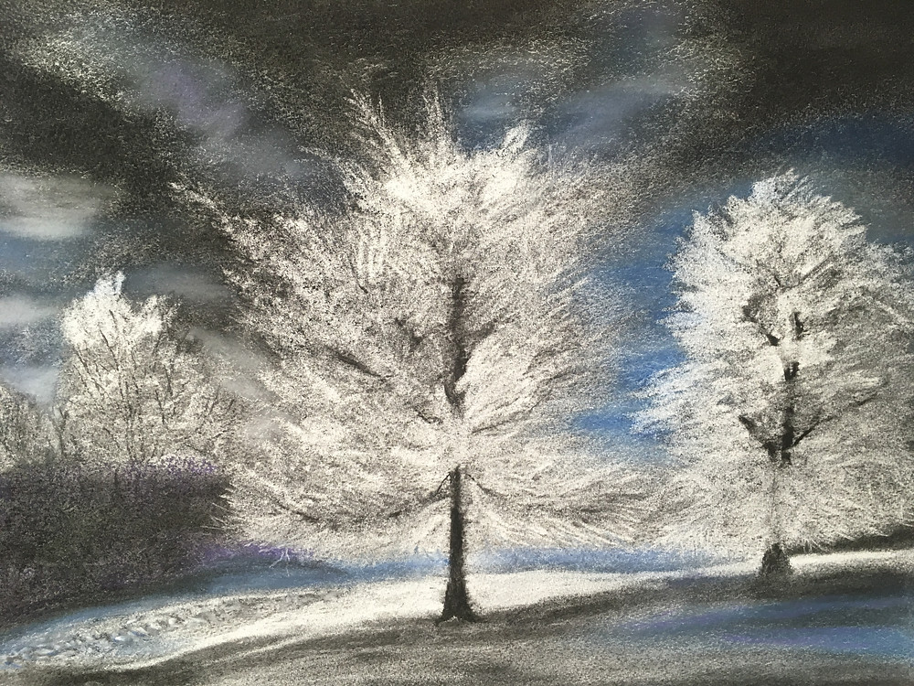 Charcoal and pastel of a frost Winter scene