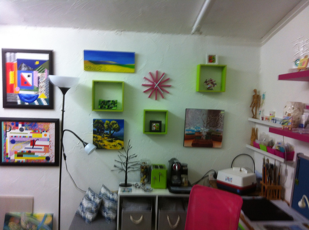Some of my art work on the wall