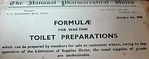 wartime formulae for personal care preparations