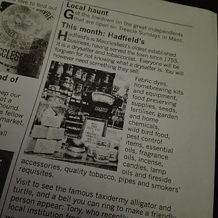 Hadfield drysalter featured in the treacle market publication the treacle rag