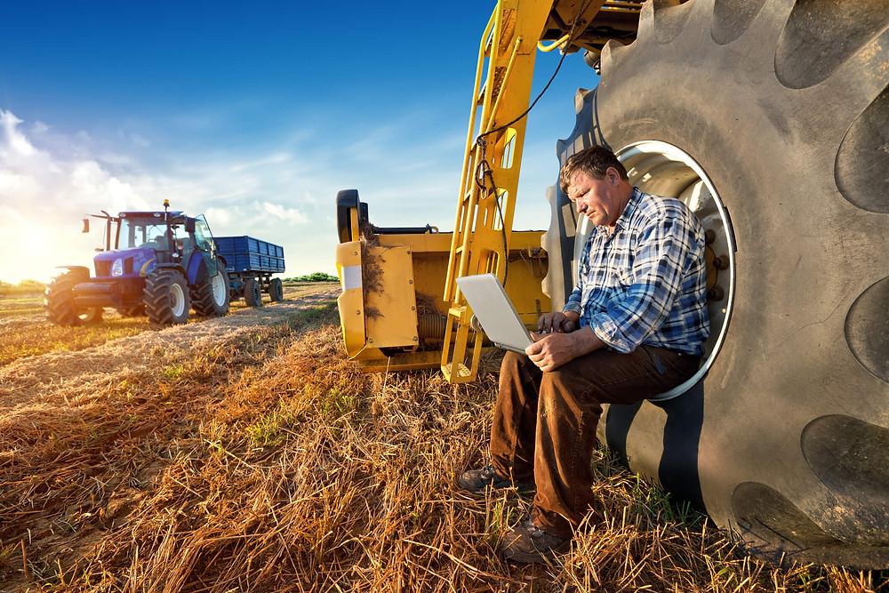 agricultor, visualizando o dashboard em campo, agricultura de decisão