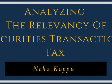 Analysing the relevancy of Securities Transaction Tax