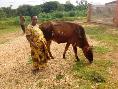 Mama Valerie received a cow !