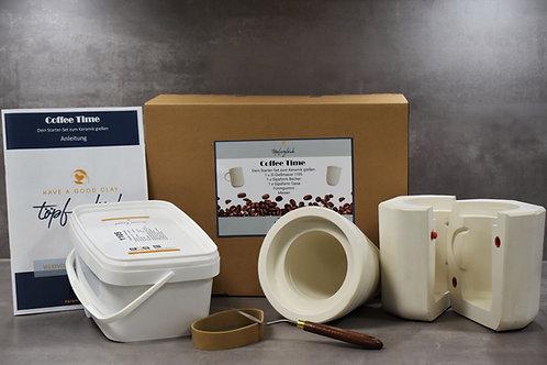 זמן קפה: ערכה של חומר יציקה פורצלן ,2 תבניות וכלי עבודה