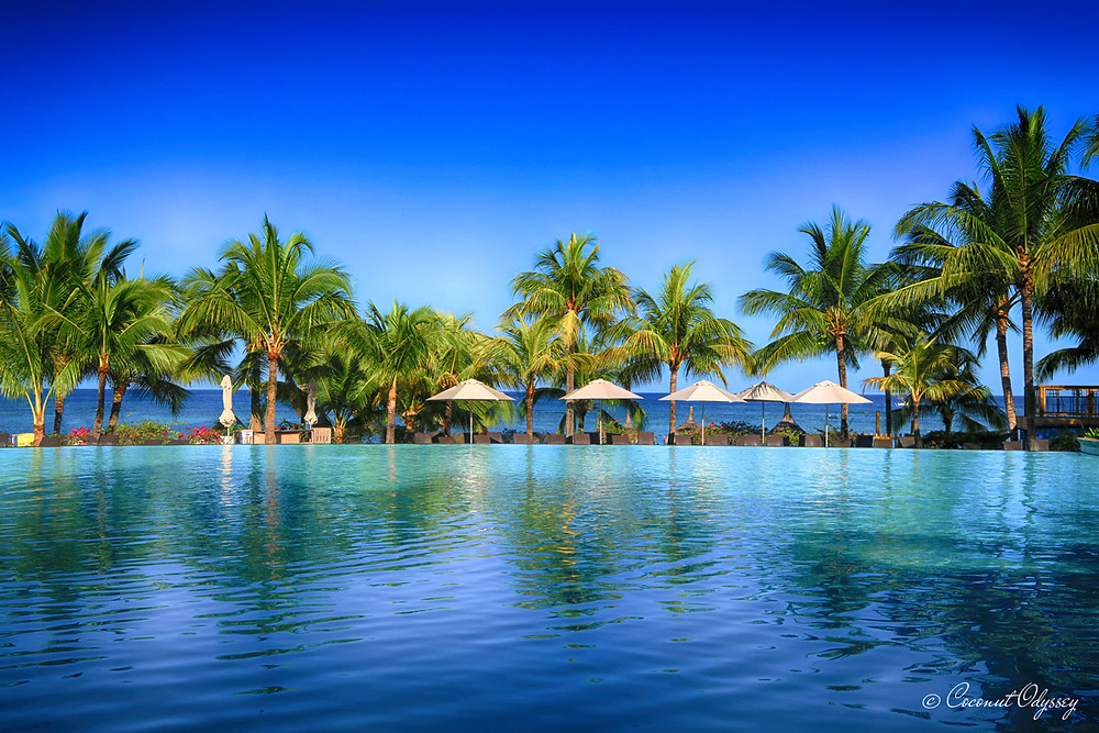 Palm tree lined infinity swimming pool over looking the ocean at Victoria Beachcomber Mauritius