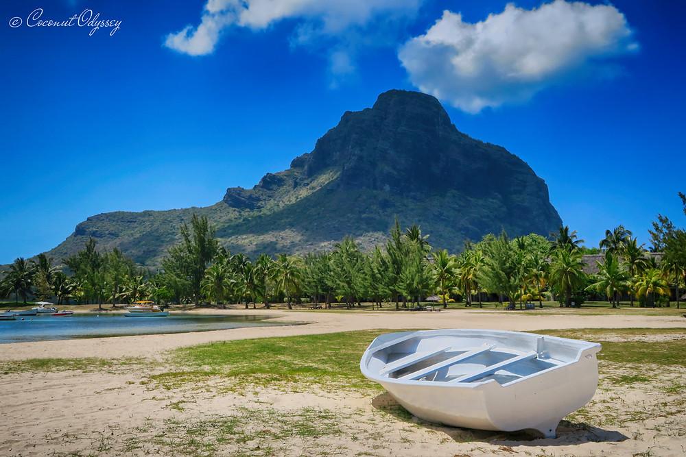 A photo of Le Morne mountain taken from a beach in Mauritius, Dinarobin Beachcomber Golf Resort & Spa