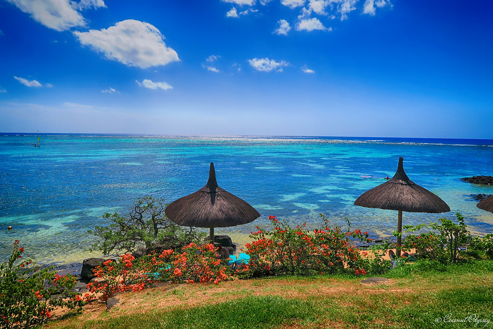 Canonnier Beachcomber, Mauritius. a view point from two thatched beach parasols over looking the turquoise blue ocean in Mauritius