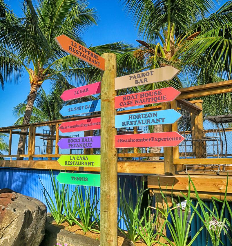 Bright coloured sign post Mauritius
