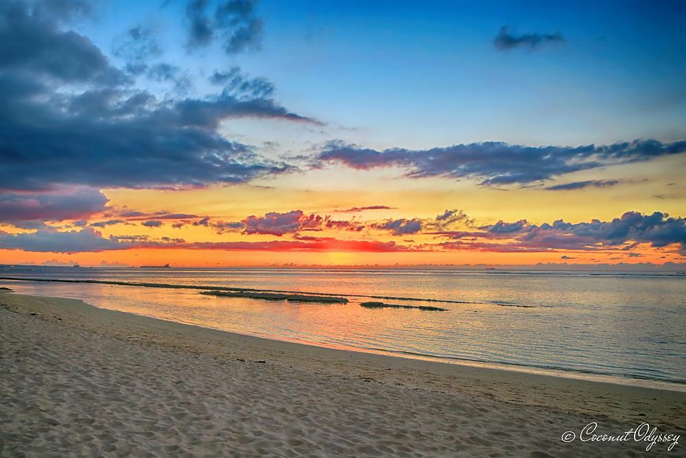 orange Beach sunset at Victoria Beachcomber resort Mauritius