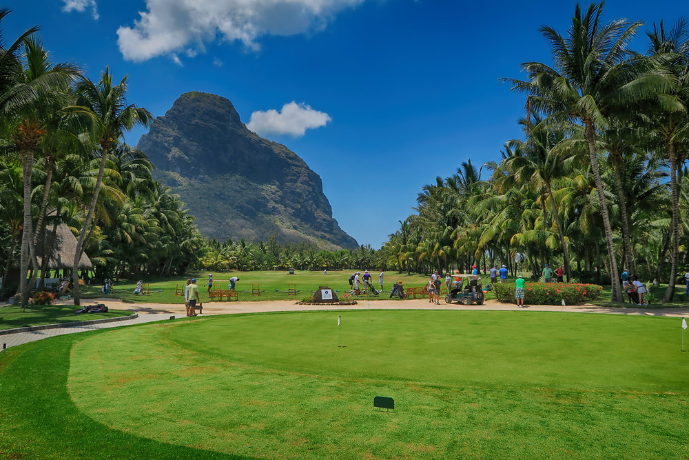 Le Morne acts as the back drop for the golf course.