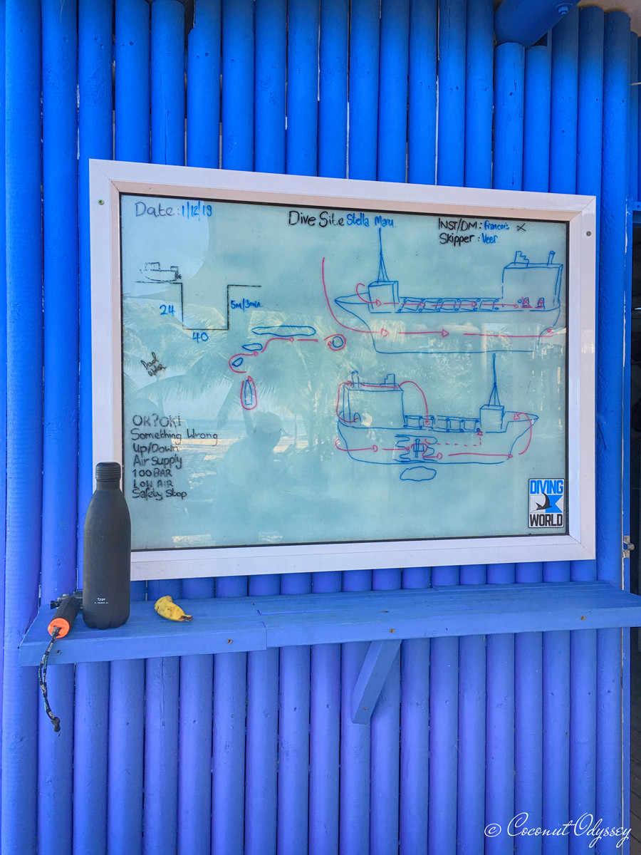 A dive briefing which consists of a hand drawn sketch on a white board of the wreck we were diving