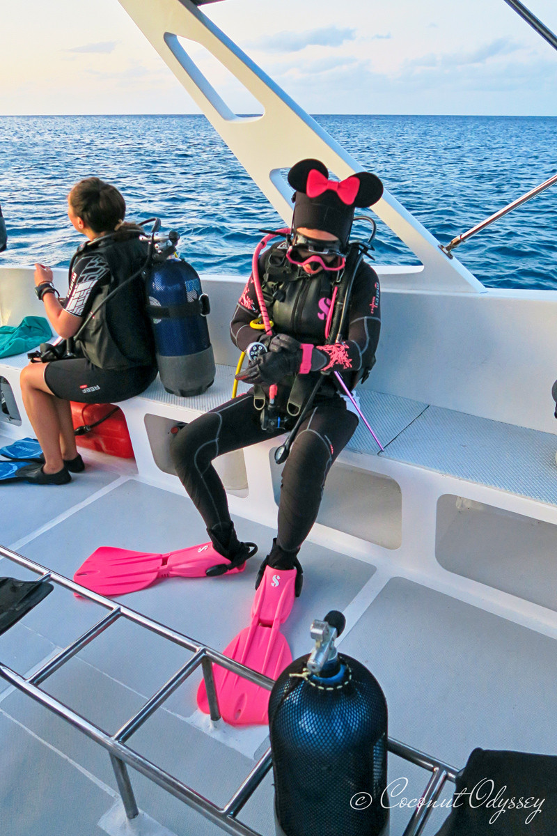 Pink Barbie Scuba Diver on boat in mauritius wearing scuba pro, sunnto, mares