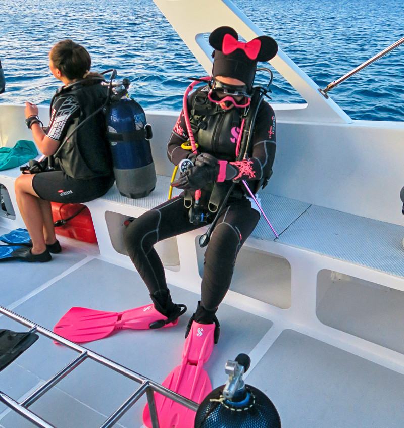 female scuba diver dress in black wet suit, with minnie mouse ears, pink bow on head, pink dive fins, pink dive watch and pink wetsuit