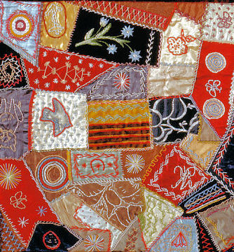 A randomly quilted and embroidered section of an American Crazy Quilt.