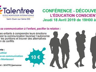Jeudi 18 avril - Conférence découverte - Education consciente