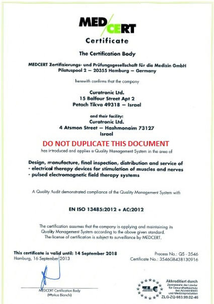 ISO certificate for PEMF
