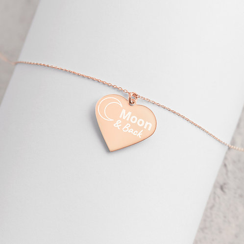 Moon & Back Engraved Silver Heart Necklace