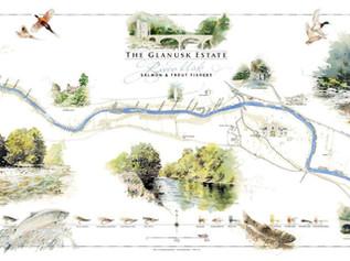 Glanusk, River Usk Fishing Map