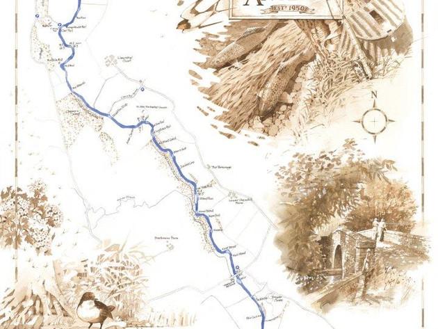 Tregate, River Monnow Fishing Map