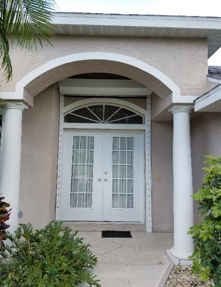 French Door with Transom Electric Roll Down Shutter